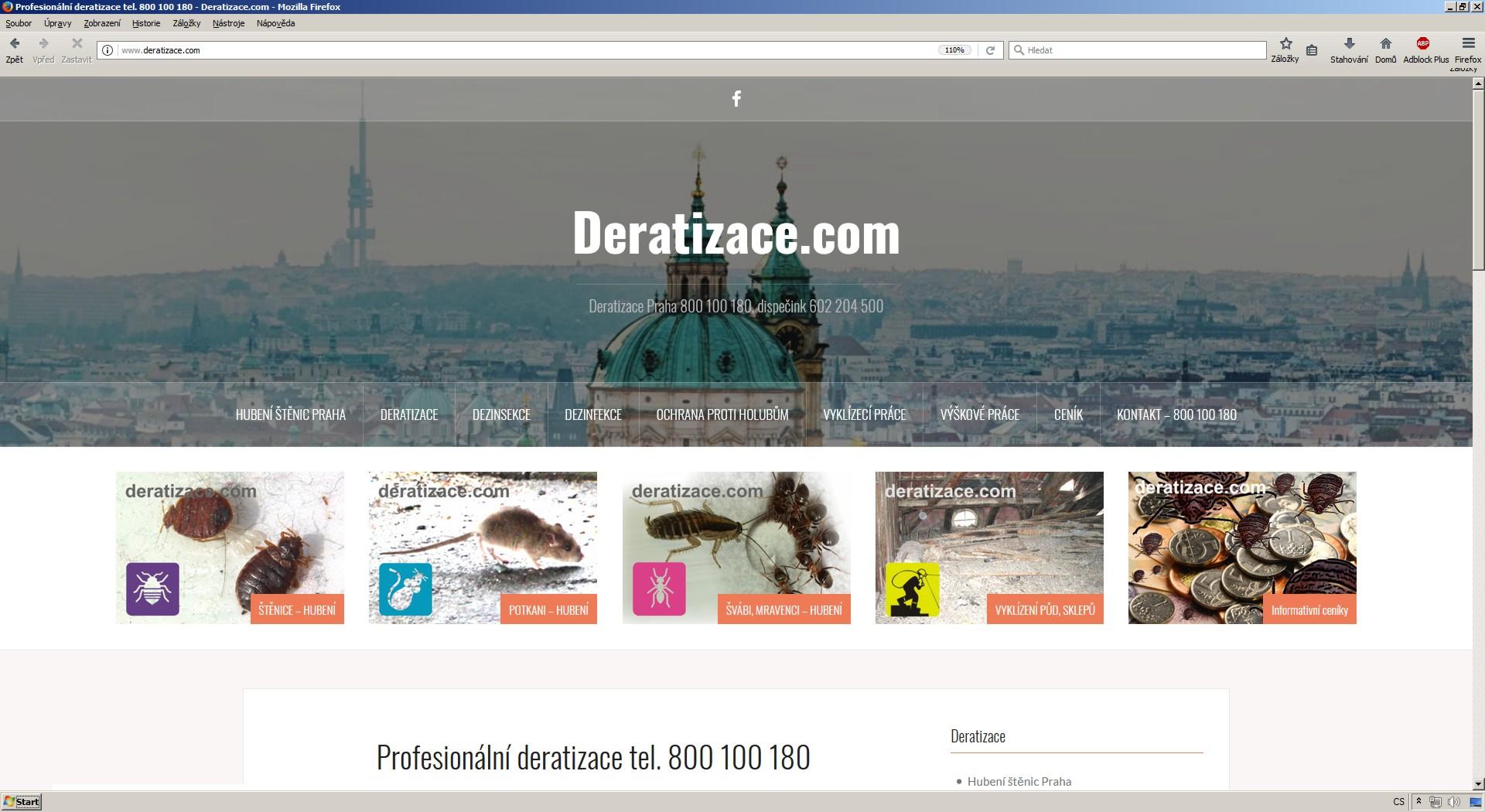 Hubení a likvidace deratizace štěnic potkanů myší Praha